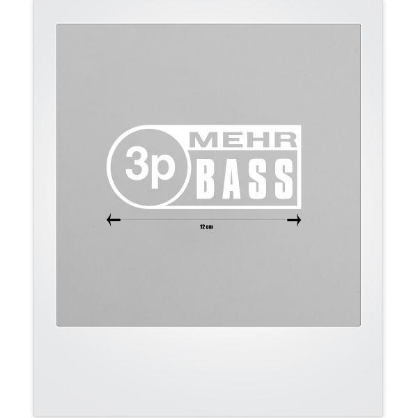 3p Mehr Bass-Sticker in weiß